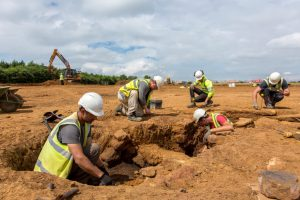 Excavation of a T-shaped drying oven at Brixworth