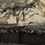 Detail of medieval cloister wall revealed during excavation