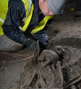 Excavation of a Roman burial requires careful attention