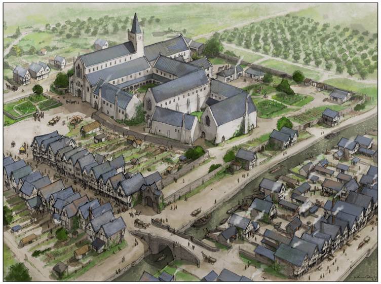 Reconstruction of the Dominican Friary and surrounding area as it may have appeared in late medieval times (by Jake Lunt)