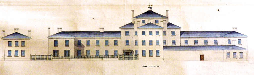 The south elevation as designed by first designed by Foster. Minor changes were made plus a large lantern over the central tower