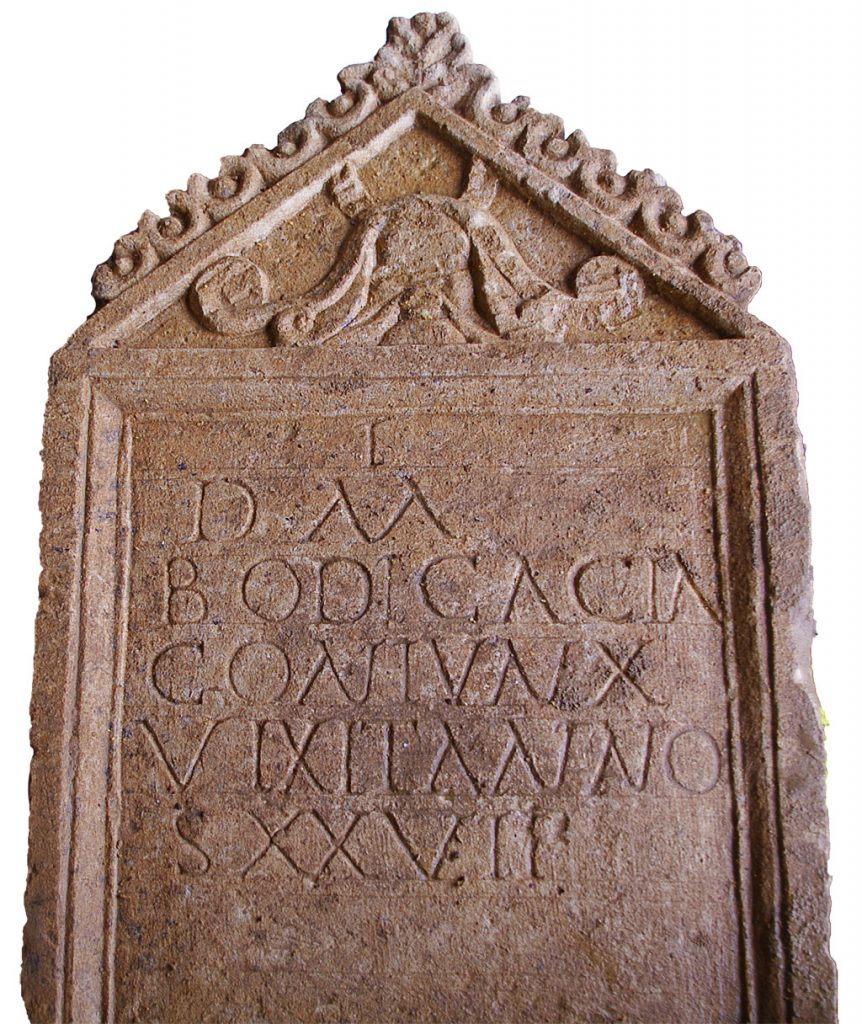 Tombstone inscription and decoration