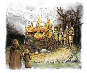 Reconstruction of a Bronze age burial created by Cotswold Archaeology illustration team
