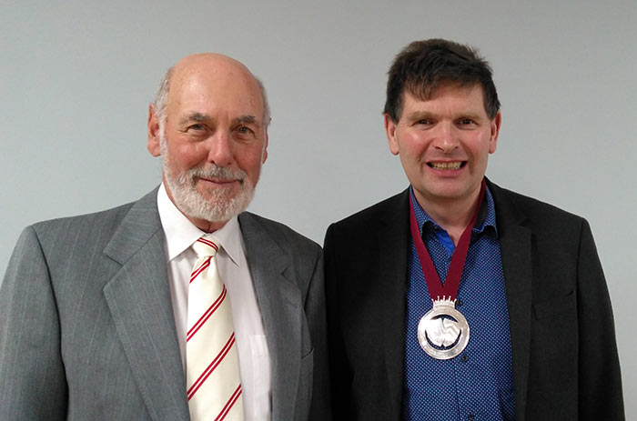 Neil Holbrook and John Loosley, out-going president of the Society