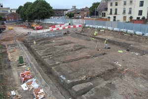 General view of the ongoing excavations at the junction of Commercial Road and Ladybellegate Street
