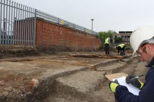 General view of the ongoing excavations off Commercial Road
