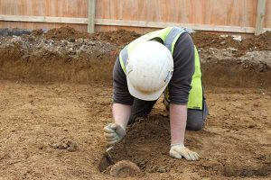 Part of a Roman amphora being excavated from one of the quarry pits