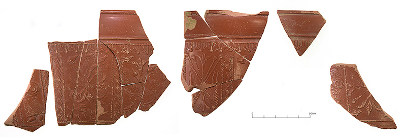 Sherds from a decorated samian vessel from one of the quarry pits