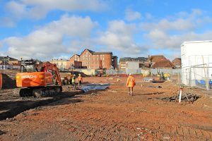 View of the ongoing works for proposed new car park off Barbican Way