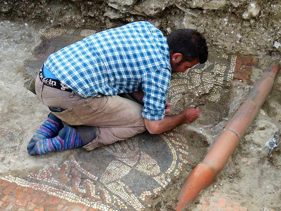 Matt Nichol working on the mosaic