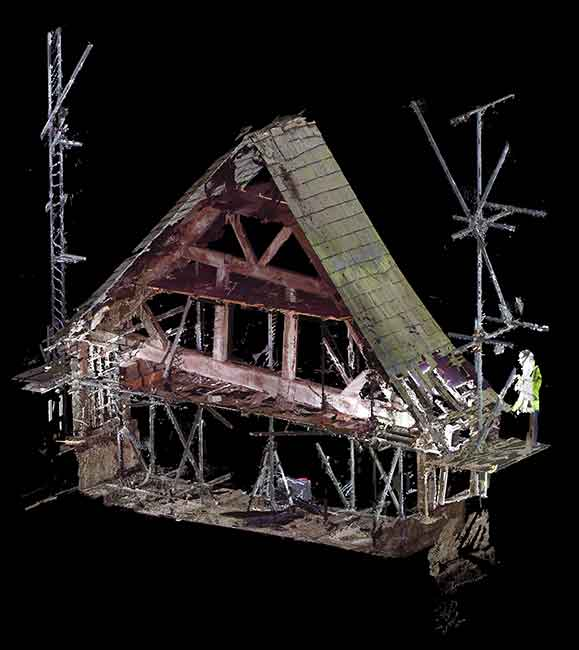 3d pointcloud. Cross section of the bridge house showing interior and roof, 2016