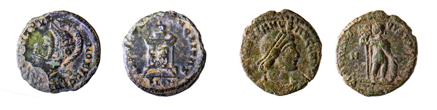 two coins showing obverse and reverse