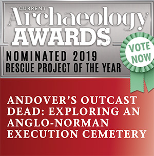 Current archaeology awards logo wit the link to vote