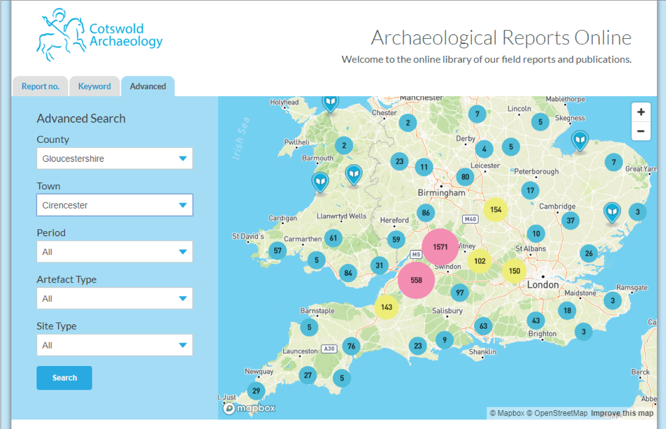 printscreen of the reports online website showing the search form and a map