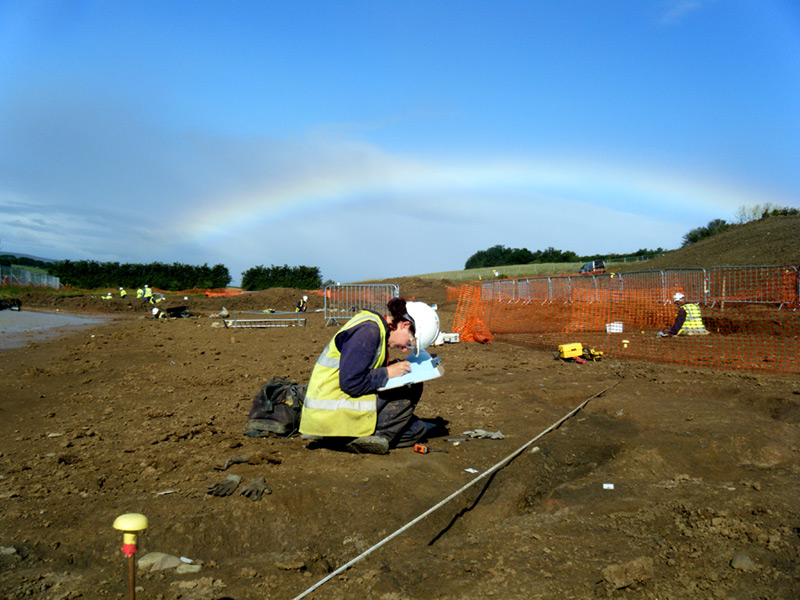 Excavations in all weathers on a linear site with Neolithic, Bronze Age, Iron Age and Roman occupation