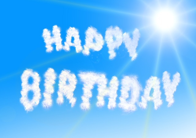 happy birthday sign made with clouds