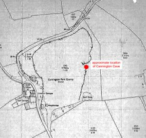 Location of the cave in the Quarry – original archive