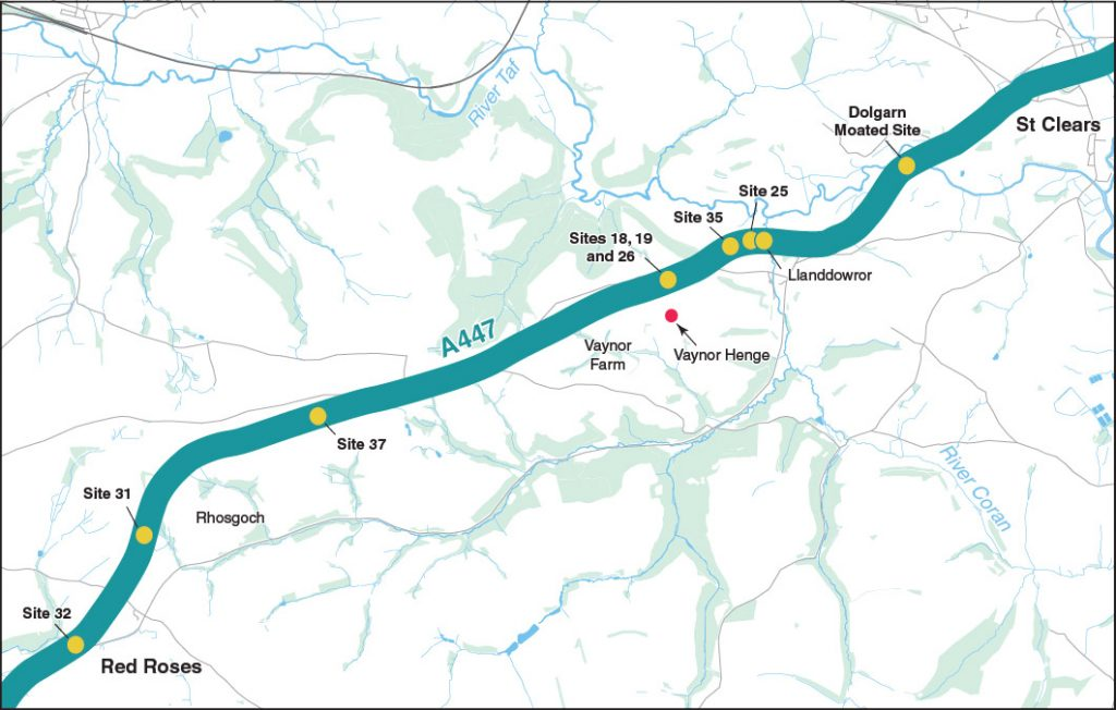 The archaeological sites along the route of the A477