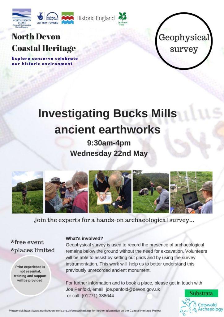 Investigating Bucks Mills ancient earthworks poster