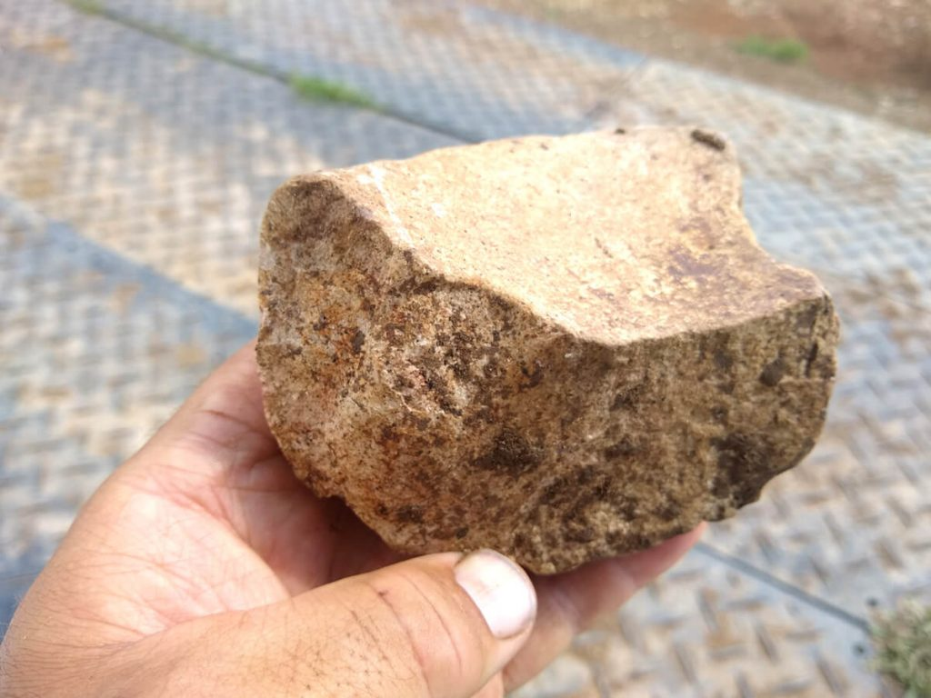 Stone mortar fragment from workshop area