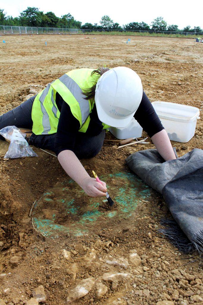 bronze shield during excavation