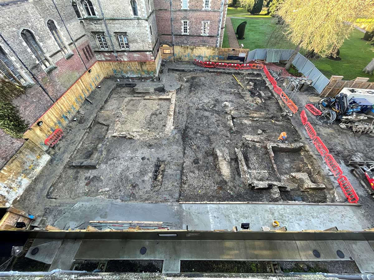 An aerial view of the site, taken from the roof of Jesus college.