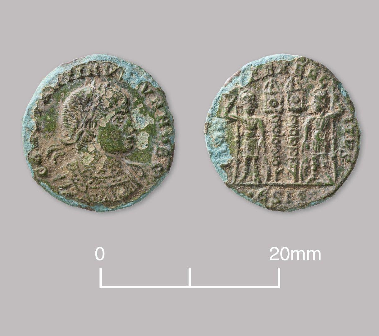 Bronze nummus coin of Constantine II (as Caesar). AD 330–335.