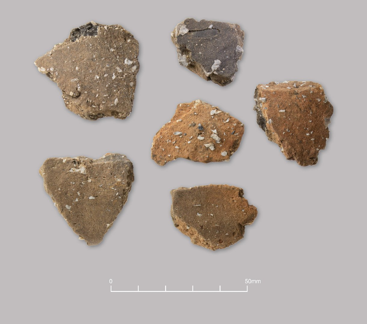 Handmade flint-tempered pottery. Late Bronze Age to Early Iron Age (c. 1000–600 BC)