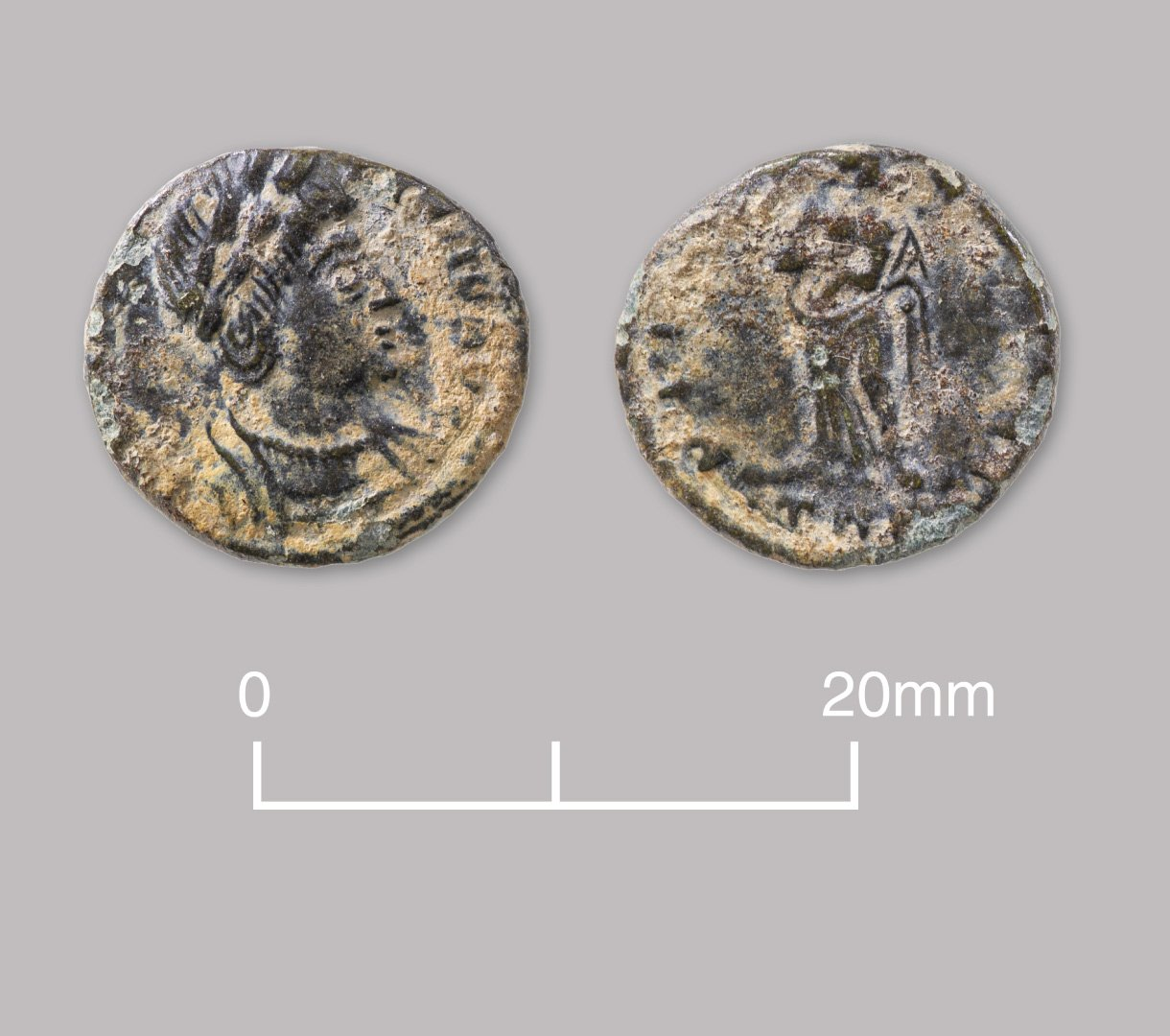 Bronze nummus coin of Empress Helena. AD 337–341.