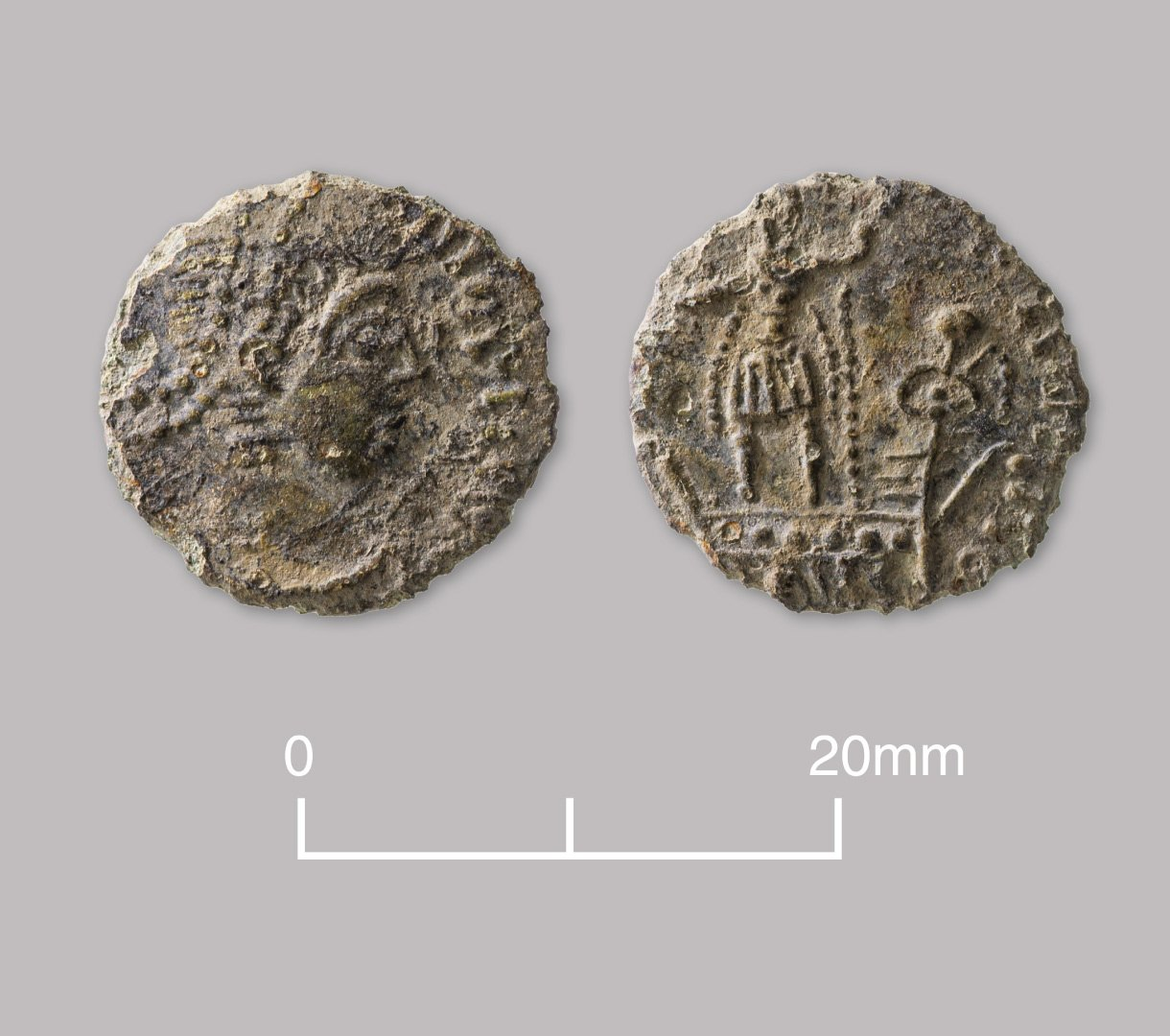 Bronze nummus coin. House of Constantine (probably a contemporary copy). AD 348–350.