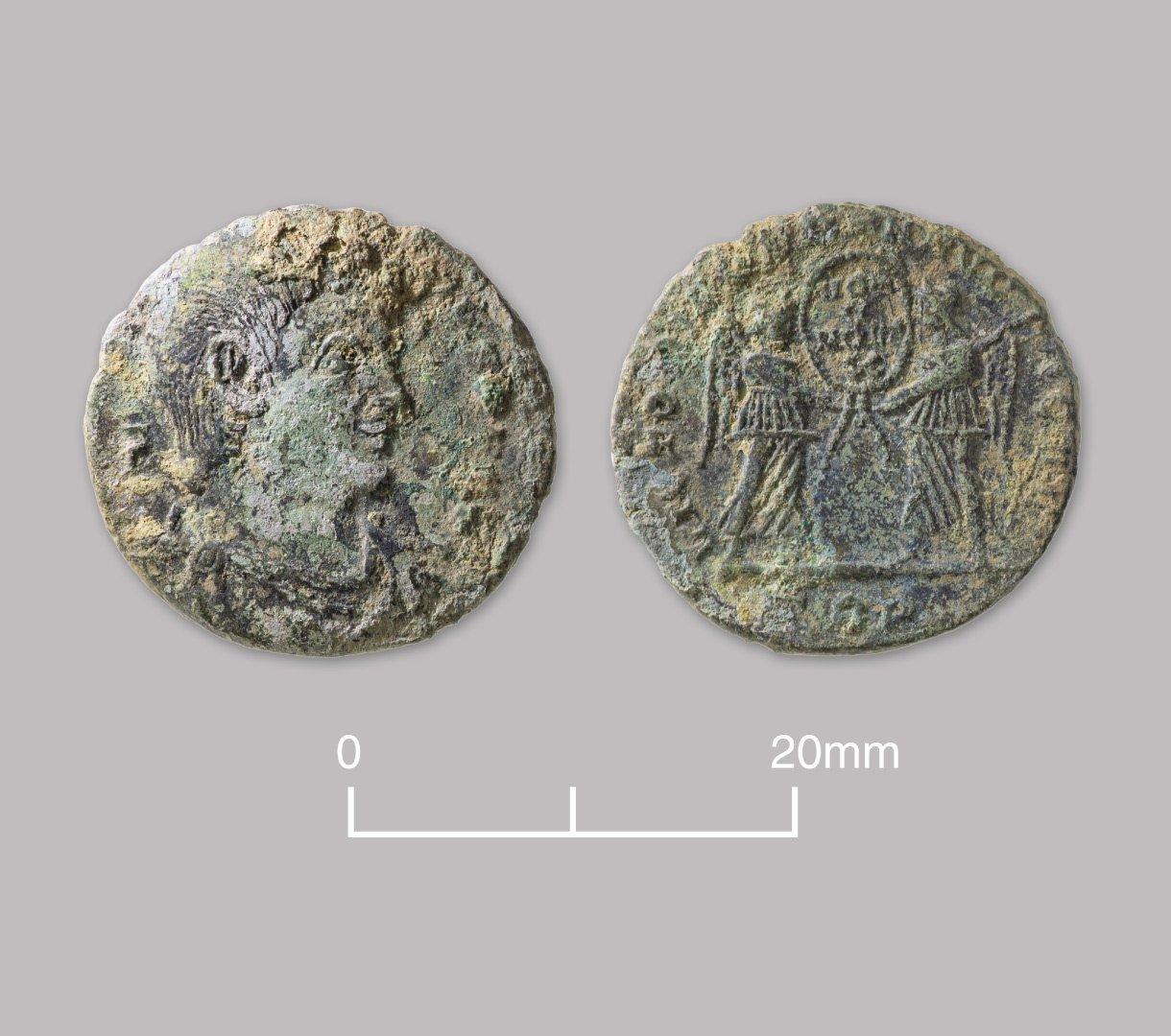 Bronze nummus coin of Magnentius (usurper Western emperor). AD 350–353.