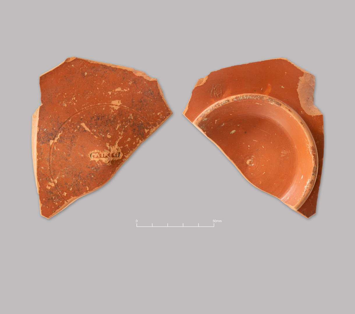 South Gaulish Samian ware platter. Makers stamp [PATRICI] of potter Patricius. Early Roman (c. 70–100 AD)