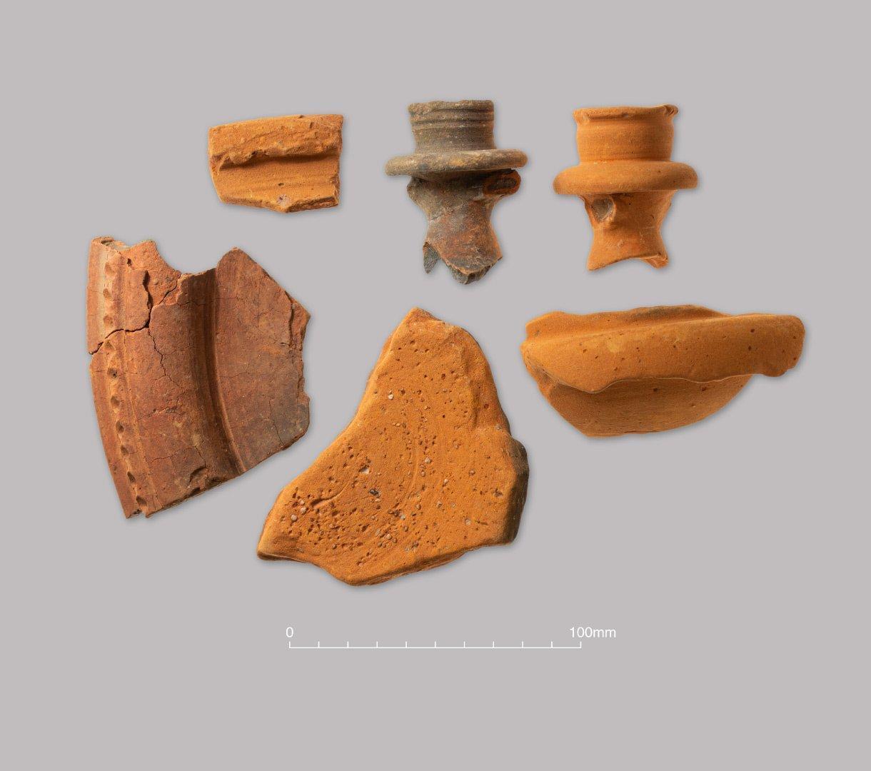 Hadham oxidised ware. Flagons, bowls and  mortarium. Late Roman (c. 250–400 AD)