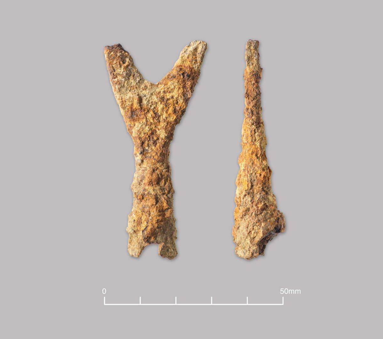Iron crescent-headed arrowhead. Later Medieval (c. 1300-1500).
