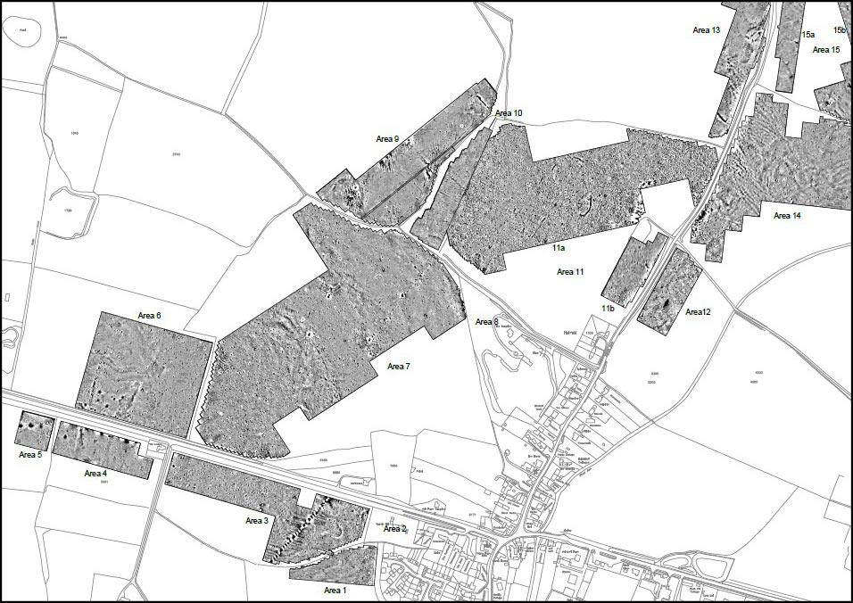 Geophysical survey results. Courtesy of GSB Prospection Ltd