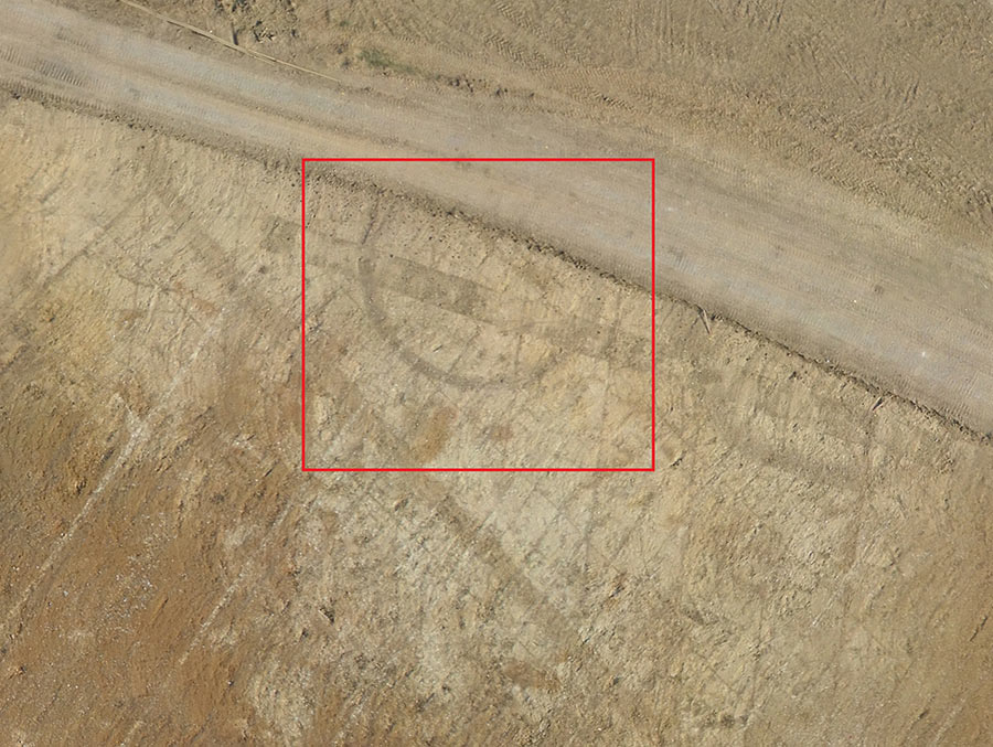 drone image of the roundhouse ditch