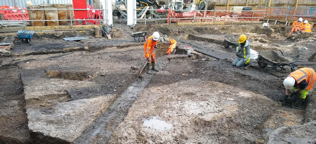 Excavating the post-medieval layers has revealed a number of earlier floor surfaces.