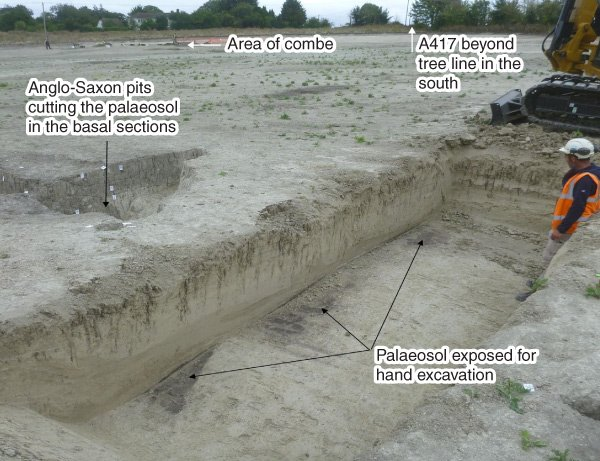 East Challow, Oxfordshire. Excavation on the chalky colluvium to expose the buried soil (courtesy of Nick Watson, ARCA)