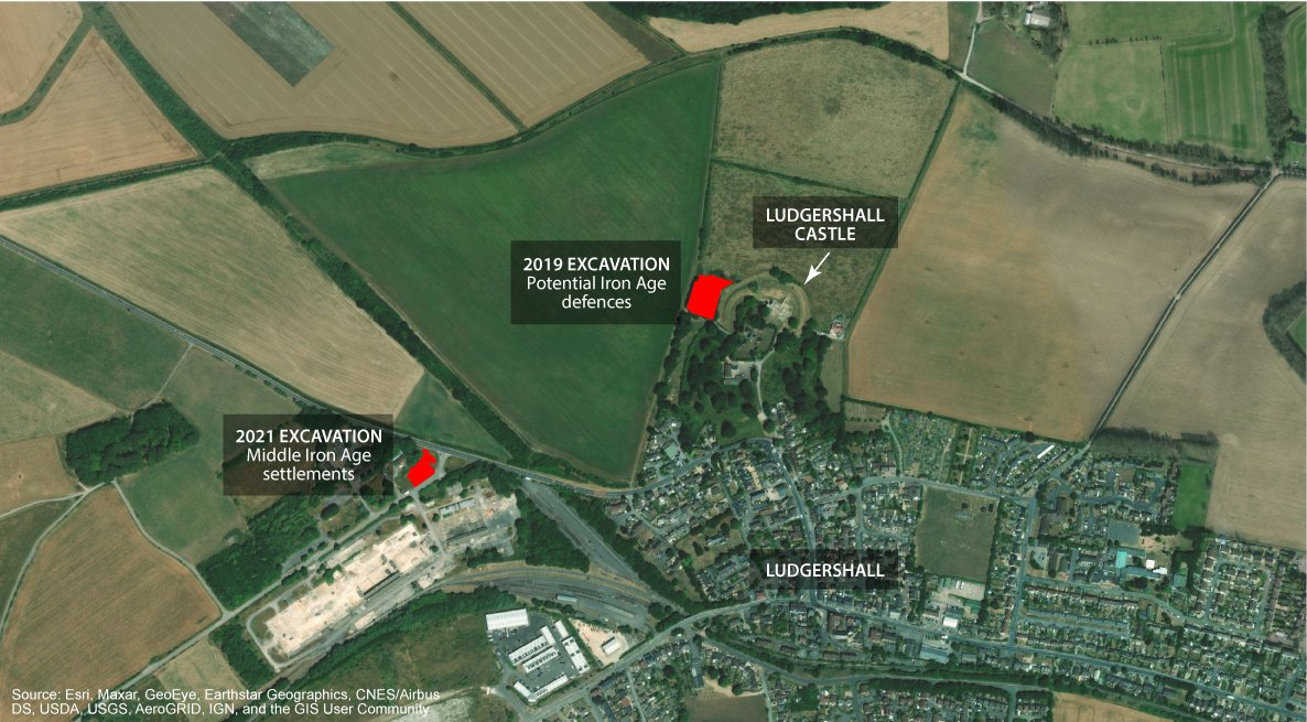 An aerial photograph showing CA's excavation of 2019 and 2021 in the vicinity of Ludgershall Castle