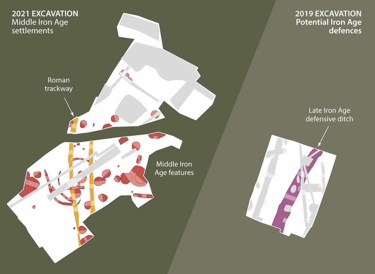 Detailed plans of CA's excavations at Ludgershall Castle