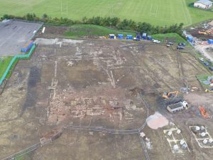 Photograph of an archaeological excavation site taken with a drone