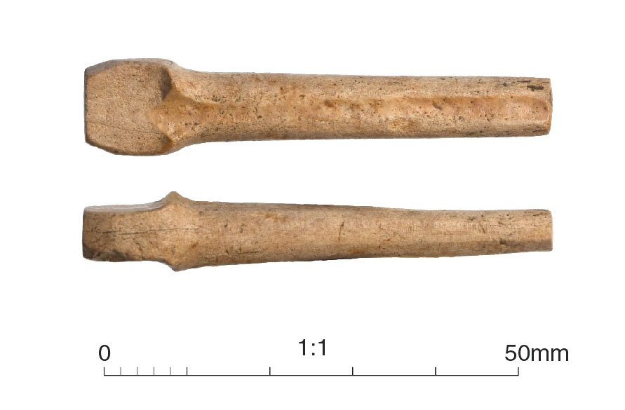 Medieval bone tuning peg from a musical instrument