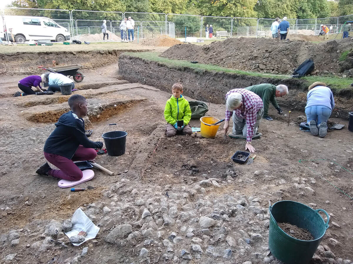 Volunteers excavating at Clare Castle in 2018