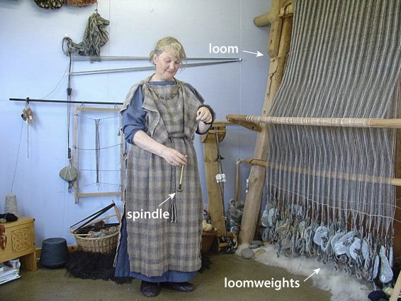 An upright loom with stone weights at the end of the warps (by kind permission of Offsetwarehouse, UK)