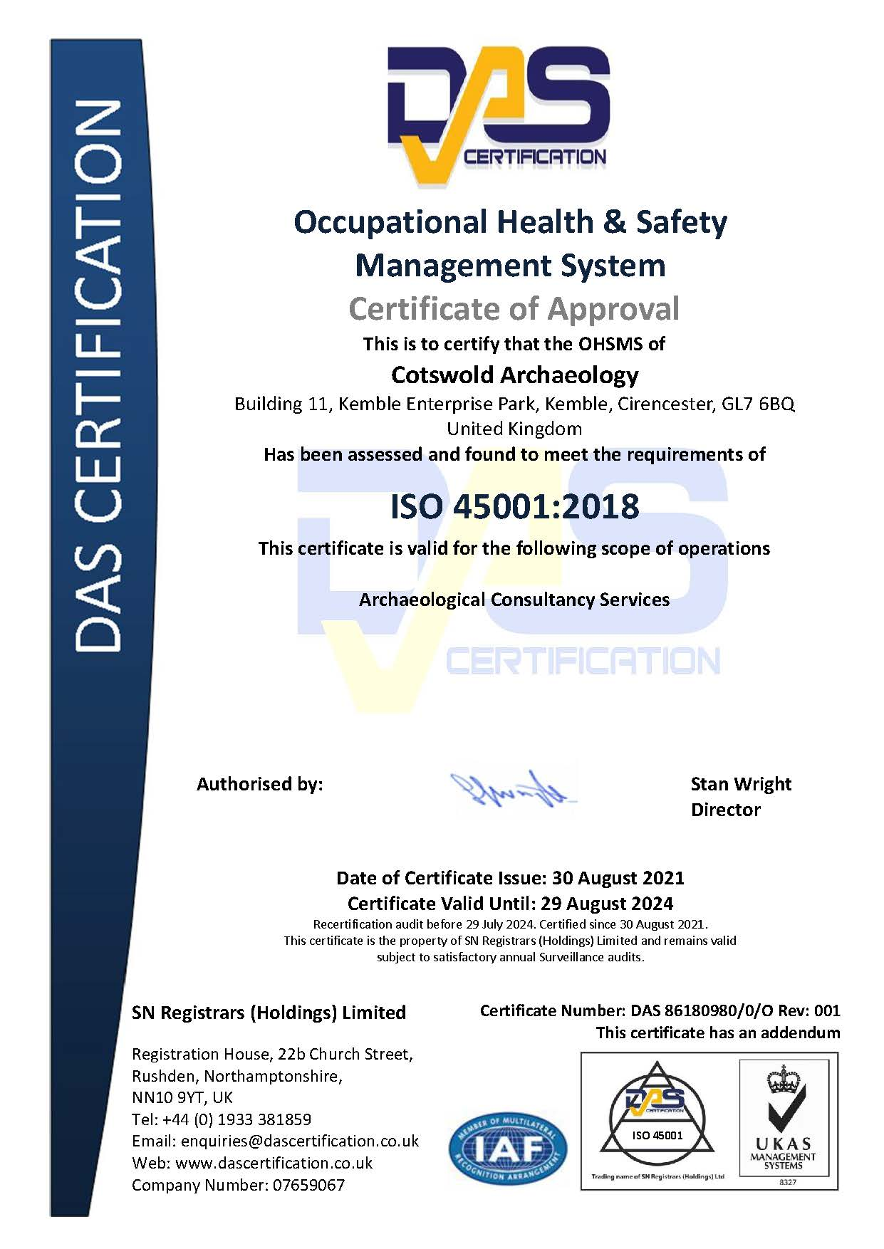 ISO 45001 ceritficate