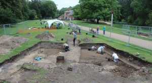 Moat trench being excavated by volunteers